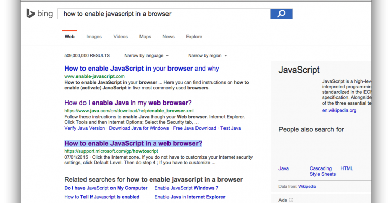 how to enable javascript user search